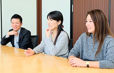 from left Web Design Department Mr. Yano, Mr. Yamada, Mr. Kobayashi